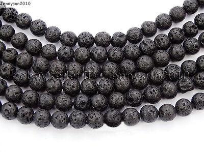 Natural Black Volcanic Lava Gemstone Round Beads 15.5'' 4mm 6mm 8mm 10mm 12mm 5