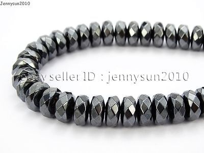 Hematite Gemstone Rondelle Spacer Beads 16'' 2mm 3mm 4mm 6mm 8mm Smooth Faceted 6