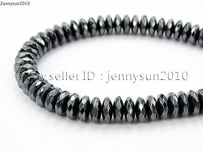 Hematite Gemstone Rondelle Spacer Beads 16'' 2mm 3mm 4mm 6mm 8mm Smooth Faceted 8