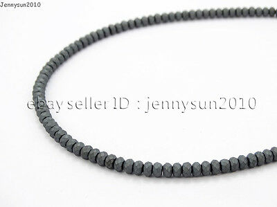 Hematite Gemstone Rondelle Spacer Beads 16'' 2mm 3mm 4mm 6mm 8mm Smooth Faceted 12