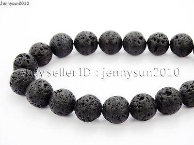 Natural Black Volcanic Lava Gemstone Round Beads 15.5'' 4mm 6mm 8mm 10mm 12mm 4