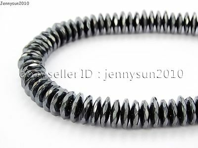 Hematite Gemstone Rondelle Spacer Beads 16'' 2mm 3mm 4mm 6mm 8mm Smooth Faceted 7