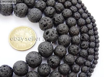 Natural Black Volcanic Lava Gemstone Round Beads 15.5'' 4mm 6mm 8mm 10mm 12mm 2