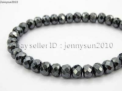 Hematite Gemstone Rondelle Spacer Beads 16'' 2mm 3mm 4mm 6mm 8mm Smooth Faceted 5