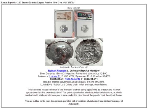 Roman Republic 42BC Praetor Livineius Regulus Praefect Silver Coin NGC i68785 5