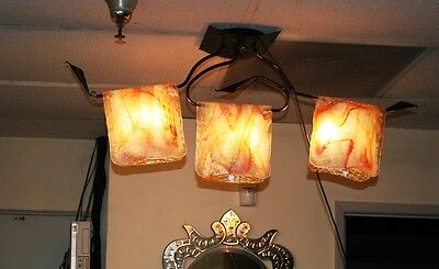 Modern Handmade Wrought Iron Ceiling Lamp&folding Signed Glass Europe Post 1940 3