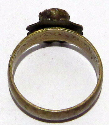 VINTAGE NICE BRONZE RING WITH STONE FROM THE EARLY 20th CENTURY # 972 6