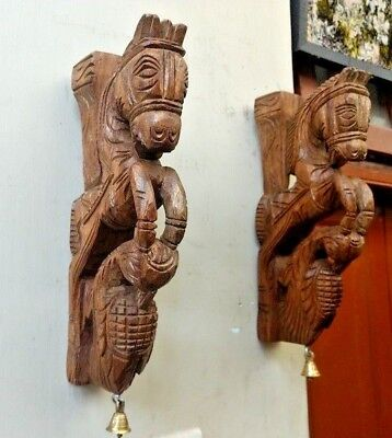 Pony Horse Wall Corbel Pair Wooden Sculpture Statue Peacock Bracket Home Decor U 2