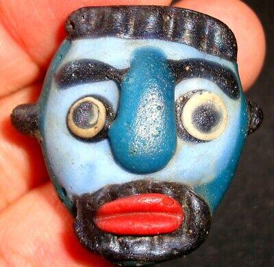 Ancient Phoenician Blue Face Mosaic Glass Bead Beard Man Pendant Rare 732 7