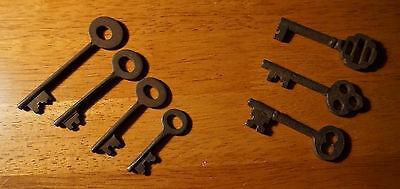 Set of 7 Rustic Cast Iron 19th Century Style Cabinet Skeleton Keys Rusted Finish 10