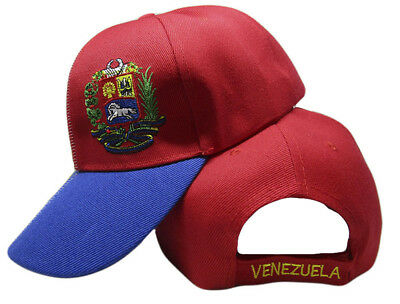 Venezuela Country Letters Emblem Red With Blue Bill 3-D Embroidered Cap Hat 2