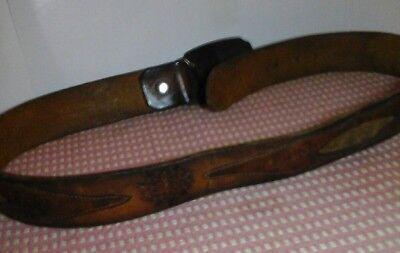 """Vintage Brass Belt Buckle BTS Deer Hunting 1970s with tooled 39"""" leather belt 6"""