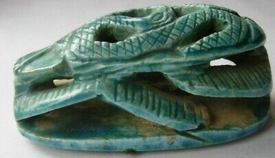 Egyptian revival Scarab turquoise faience 9 x 4 cms snake pattern hieroglyphs 2
