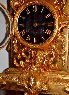 Rare Beautiful French Japy Frere Antique Gilt 8 Day Chime Clock Working 5