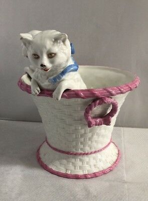 Antique Victorian Large Pair of Cats Kittens in a Basket Rare German Original 3