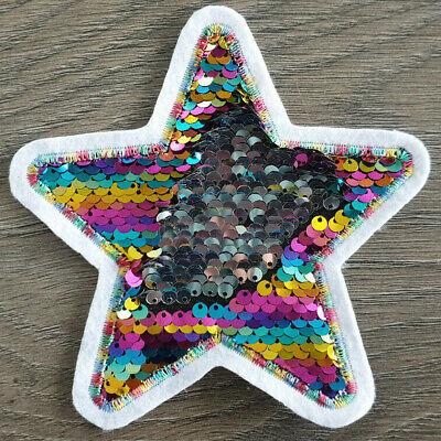 XL-Patch Herz mit Sternen Liebe mit Wendepailletten Aufnäher Applikation