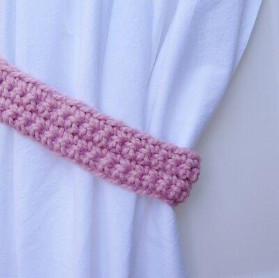 Curtain Tie Backs Set One Pair of Pink Boucle Drapery Ties Curtain Tiebacks Ship in 3 Biz Days Soft Crochet Knit Nursery Drapes Holders