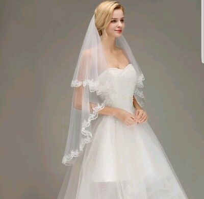 UK White Ivory 2 Tier Fingertip Length Bridal Wedding Veil Lace Edge With Comb 4
