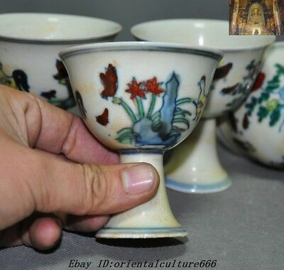 Marked China Dynasty Wucai Old Porcelain chicken rooster Bowl Cup Goblet Set 9