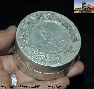 Old Chinese Tibet Silver Dragon Beast Yuan Shikai Coin statue Inkpad Box Boxes 6