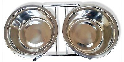 Double Dinner Pet Feeding Bowl Stainless Steel Cat Food Station Water Dish New 5