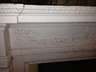 Spectacular Adams Style Fireplace Mantel W/Fluted Columns, Putti, Roses, Etc. 4