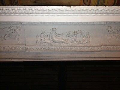 Spectacular Adams Style Fireplace Mantel W/Fluted Columns, Putti, Roses, Etc. 2