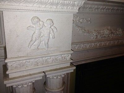 Spectacular Adams Style Fireplace Mantel W/Fluted Columns, Putti, Roses, Etc. 3