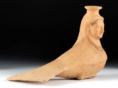 Greek Corinthian Terracotta Aryballos Siren Form w/ TL Lot 13