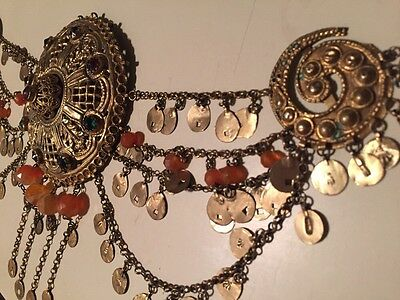 Antique Greek Gilded Belt W. Pendant Ahati Stones - Over 100 Years Old! 6