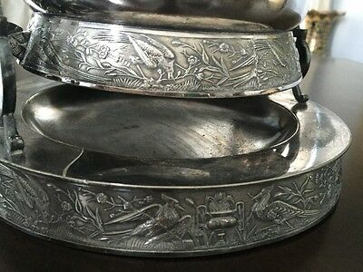 Antique Victorian Silver plate Tilting Water Pitcher with stand and goblet 9