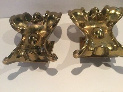 Pair of Antique Solid Brass Architectural Building Fragments 6