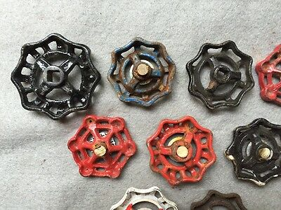 Lot Of 9 Vintage Heavy Metal Water Faucet Handles Knobs Valves Steampunk Lot#12 6