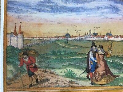 Old Antique Map Orleans, Bourges, France: 1575 Braun & Hogenberg REPRINT 1500's 3