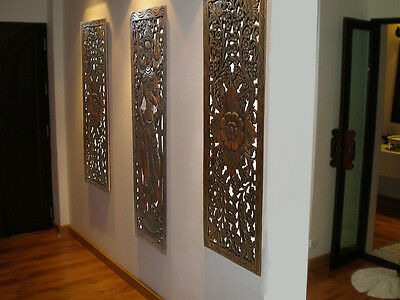 ASIAN CARVED WOOD Wall Decor Panel. Floral Wood Wall Art. Brown 35.5 ...