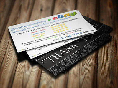 100 THANK YOU Business Cards ebay Seller 5 FIVE STAR Rating PROFESSIONAL Elegant 2