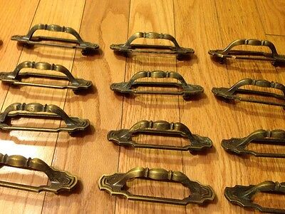 20 Vintage Antique Brass Door Handles With 2 Screws 10