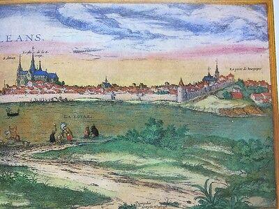Old Antique Map Orleans, Bourges, France: 1575 Braun & Hogenberg REPRINT 1500's 4
