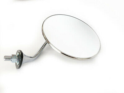 Pair of Polished Stainless Steel Classic Wing Mirrors Convex Glass MORRIS MINOR