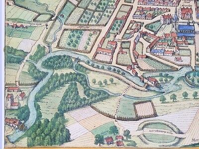 Old Antique Historic Map Odense, Denmark: 1598 Braun & Hogenberg REPRINT 1500's 7