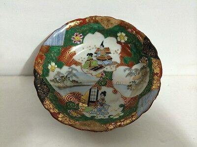 Set of 2 Antique Old Japanese Kutani Ware Porcelain Bowl Painted Gilt Signed NR! 3