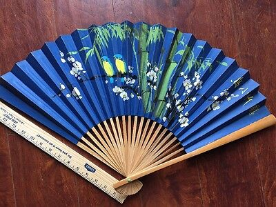 Folding Wall Fan Chinese water color Hand painted Large
