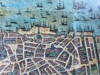 Old Antique Historic Map Antwerp, Belgium 1598 Braun & Hogenberg REPRINT 1500's 4