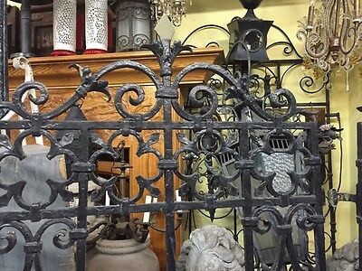 Old Spanish Revival Banded Iron  Window Grids Antique Window Cover 3