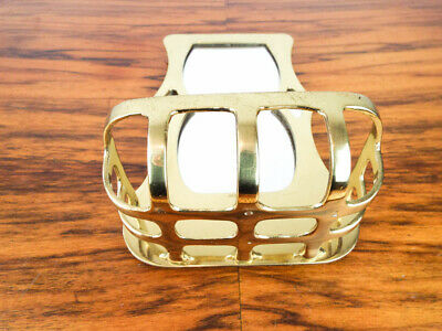 Vintage Arts & Crafts Style Mott Antique Wall Mount Soap Dish and Mirror Gold 2