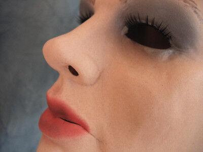 Latexmaske MARILYN +WIMPERN +PERÜCKE - Real. weibliches Frauengesicht Frau Trans