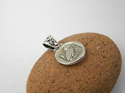 Sterling silver pendant owl - Athena small greek coin old drachma reproduction 5