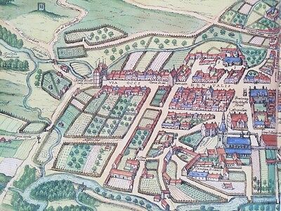 Old Antique Historic Map Odense, Denmark: 1598 Braun & Hogenberg REPRINT 1500's 6