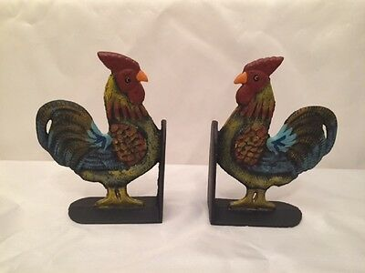 """Cast Iron Rooster Cookbook Bookends Set 8"""" tall Kitchen Decor 0170-04408 3"""