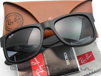 cbf67686b7e ... Ray Ban Justin RB4165 601 8G 51-16 Black Frame Gray Gradient Lens  Authentic